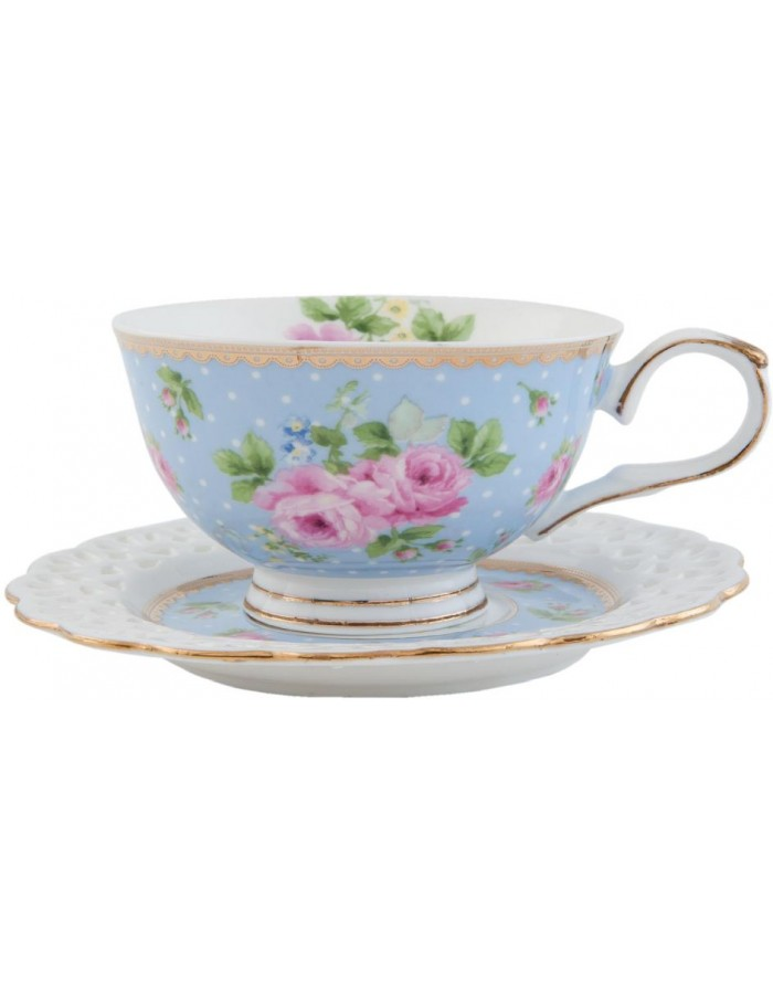 6CE0435BL Clayre Eef cup with saucer - light blue/colourful