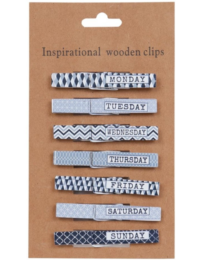 63272 Clayre Eef Inspirational wooden clips
