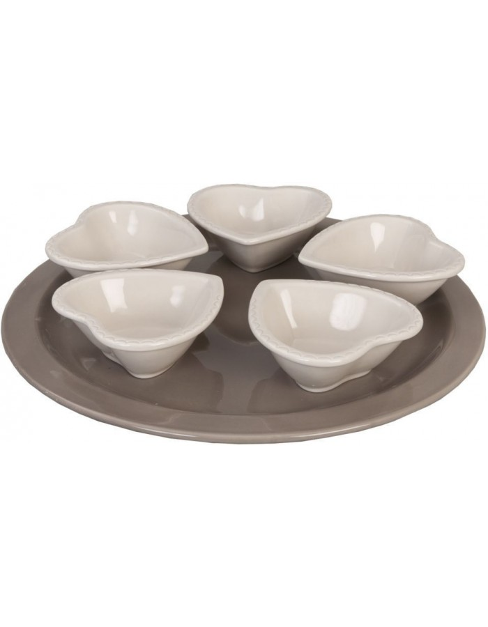 6CE0172 Clayre Eef dip-bowls with tray - white
