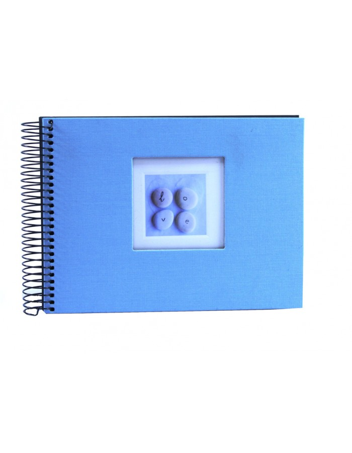 Light-blue spiral bound photo album Love