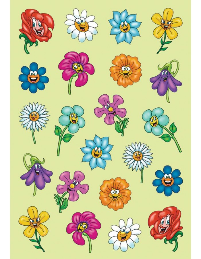 lustige Blumengesichter-Motive als 3D-Sticker der Serie MAGIC