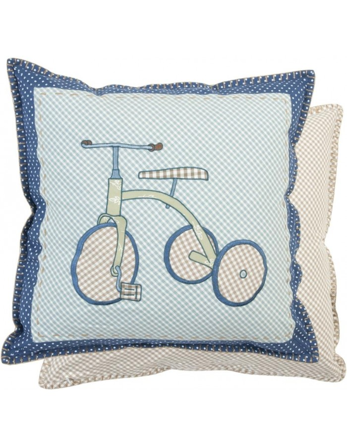 nostalgic pillow case blue bike 50x50 cm