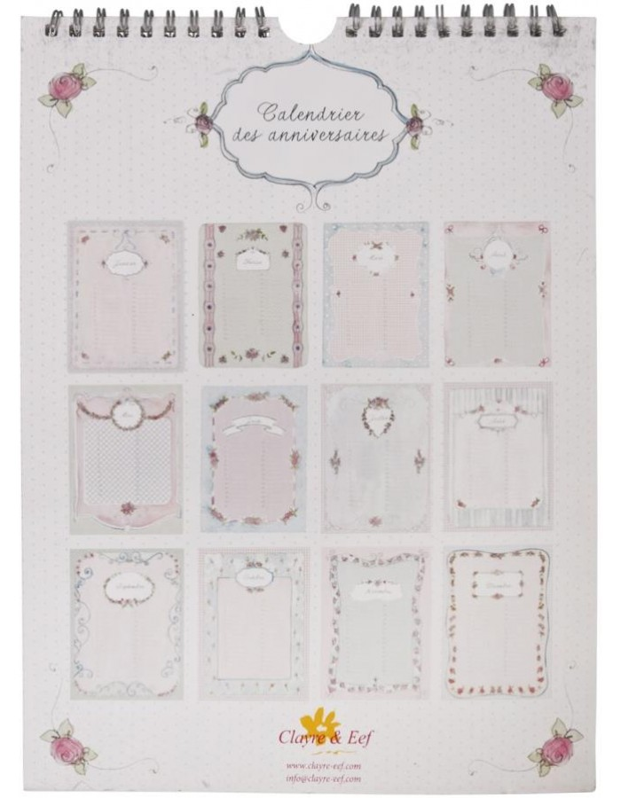romantic birthday calendar French