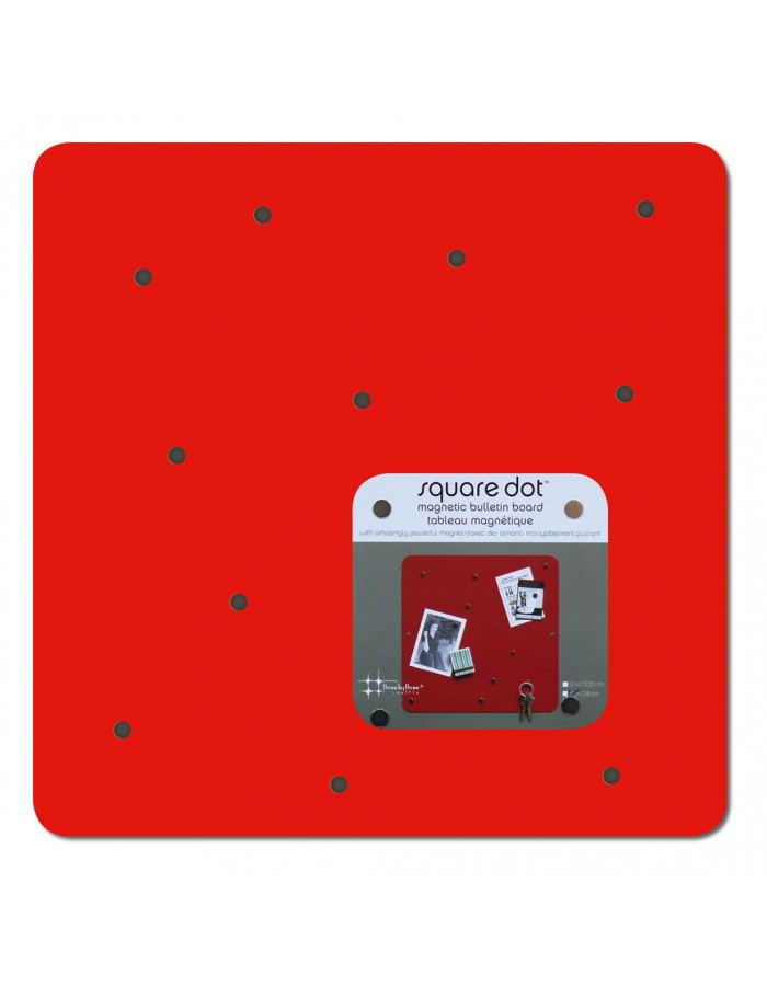 rotes Magnet Board SQUARE DOT 38 cm