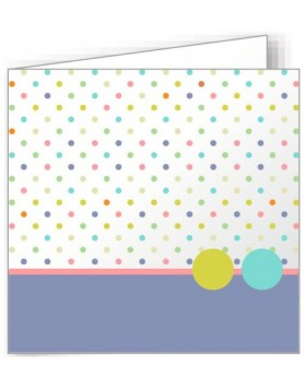 10 folded cards 135x135 mm colourful - dots