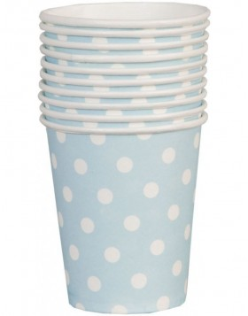 paper cups DOTS light blue 8 cm