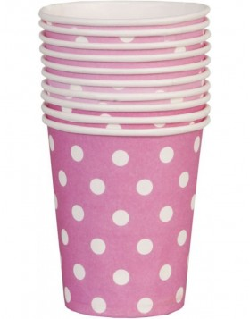 paper cups DOTS pink 8 cm