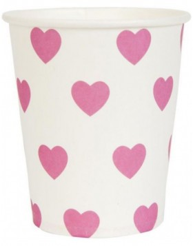 paper cups HEARTS pink 8 cm