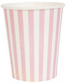 paper cups STRIPES pink 8 cm