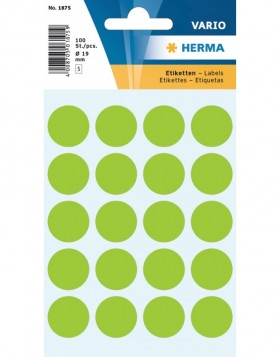 Multi-purpose labels ø 19mm green 100 pcs.