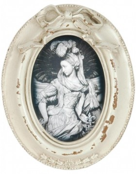 2640 picture frame oval antique frame white