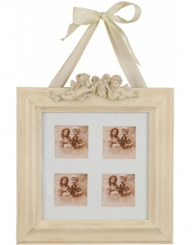 2645 Antique Frame cream white baroque frame for 4 photos