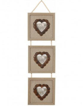 2718 Antique frame with heart and cord for 3 photos 7x7 cm