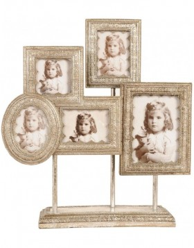 2863 Baroque frame gallery white gold 5 photos 38X44 cm