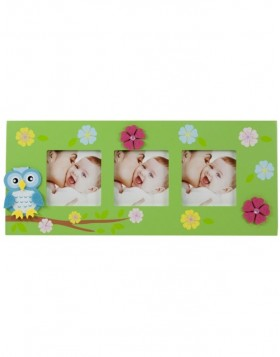 3 picture frame Small owl in green