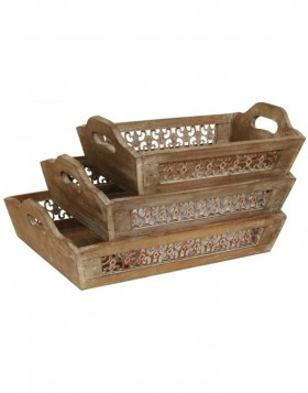 Set of 3 wooden trays OCTAVIA