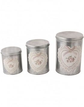 Set of 3 cans Heart with Rose