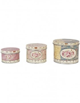 Set of 3 boxes Biscuit nostalgic roses