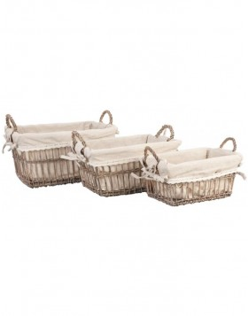 3-piece basket set with cloth cover natural
