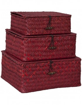 3-piece set baskets large red