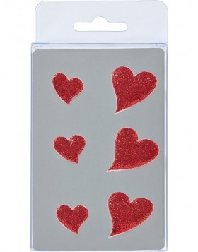 HEARTS magnets 6 pieces glittering