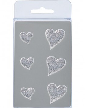 HEARTS magnets 6 pieces silver
