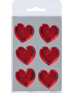 6 magnets HEARTS red