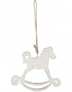 6H0755N Clayre Eef - ROCKING HORSE pendant white
