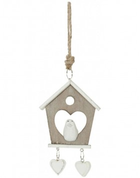 6H0812 Clayre Eef - BIRDHOUSE pendant brown/white