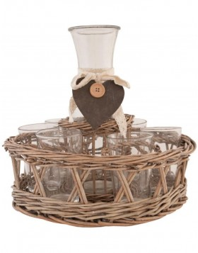 6RO0279 Clayre Eef hamper DECANTER light brown