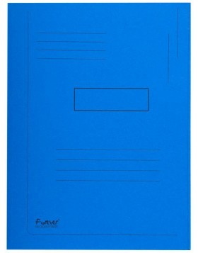 Briefcase with labeling field and 2 flaps blue