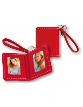 Leatherette key ring in red