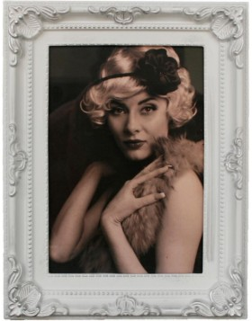 Antique baroque photo frame 10x15 cm white