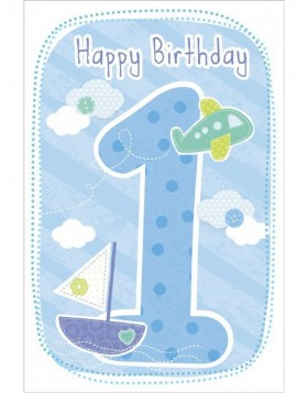 Artebene Karte Happy Birthday Kids 1 Jahr bleu