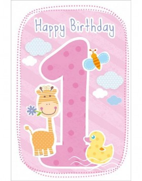 Artebene Karte Happy Birthday Kids 1 Jahr rose