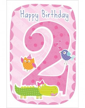 Artebene Karte Happy Birthday Kids 2 Jahre rose