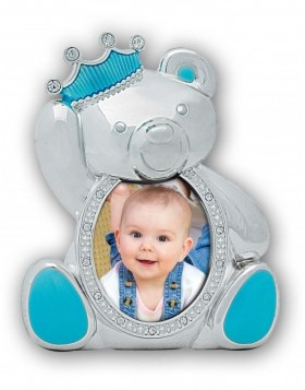 baby picture frame PRINCE silver/blue