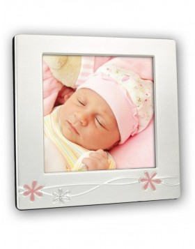 Baby frame flower pink silver 12x12 cm