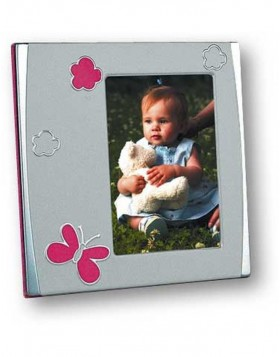 Baby frame silver Retro Pink 7x10 cm