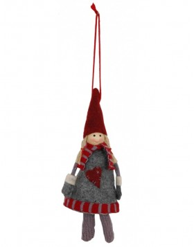 Cotton doll 16 cm gray / red