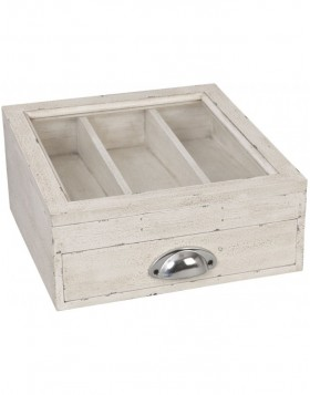 Cutlery tray with glass white wood
