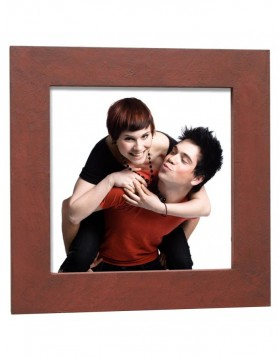 Picture frames Wooden concrete look 13x13 cm rust colored