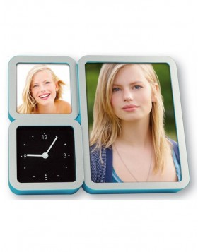 Picture frame Joe Clock with a clock and 2 pictures