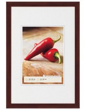 Peppers wooden frame 50x70 cm walnut
