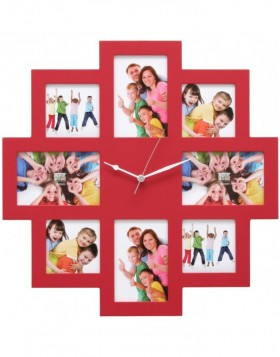 Picture Frame Clock 8 photos 48x48 cm red
