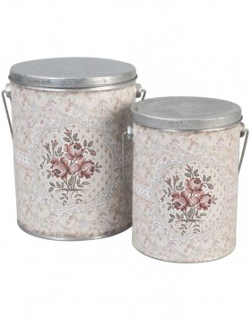 Cans gray nostalgic set of 2