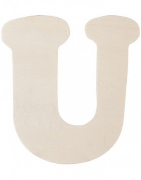 letter U 11 cm made of wood