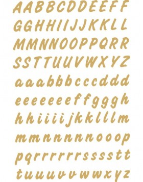 Buchstaben Sticker, transparente Folie in gold