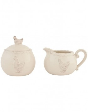 CHICKEN set sugar bowl and milk jug