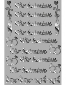 Creative filigree stickers Wir heiraten
